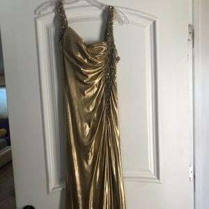 Gorgeous golden long cocktail dress.
